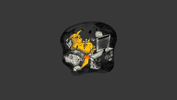 Pikachu pokemon abstract cartoons simple wallpaper