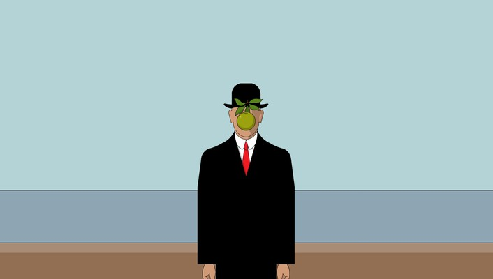 Rene magritte son of man apples green minimalistic wallpaper