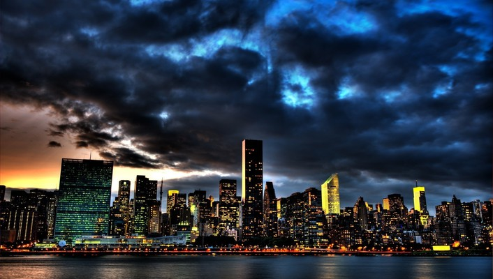 Cityscapes clouds lights skyscapes water wallpaper