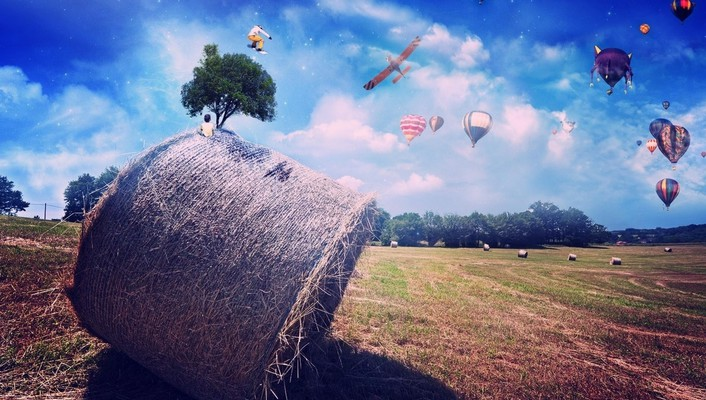 3d countryside digital art fields hay wallpaper