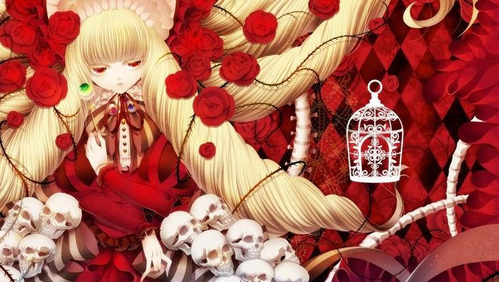 Light blondes skulls dress long hair red eyes wallpaper