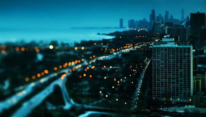 Chicago lake shore drive bokeh cityscapes skyscrapers wallpaper