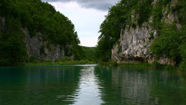 Cliffs clouds forests lakes rivers wallpaper