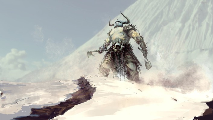 Snow barbarian axes wallpaper