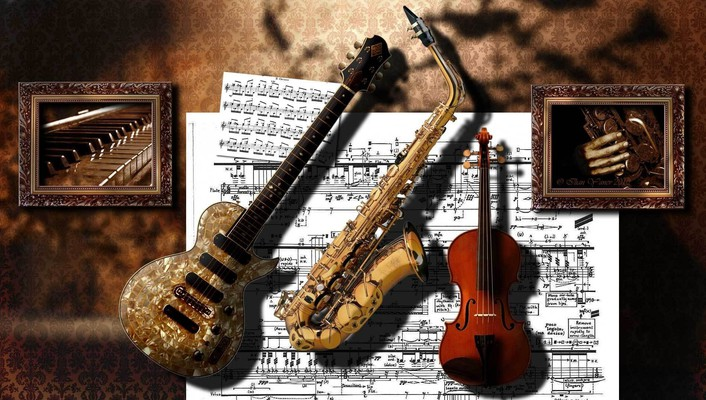 Artwork instruments music wallpaper