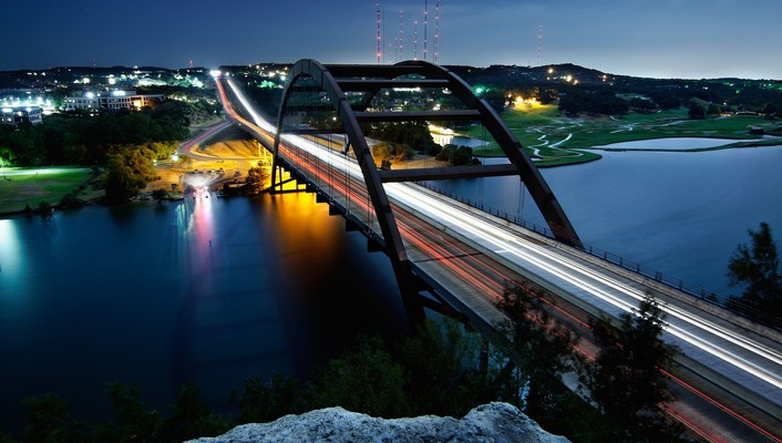 Bridges lights long exposure night wallpaper