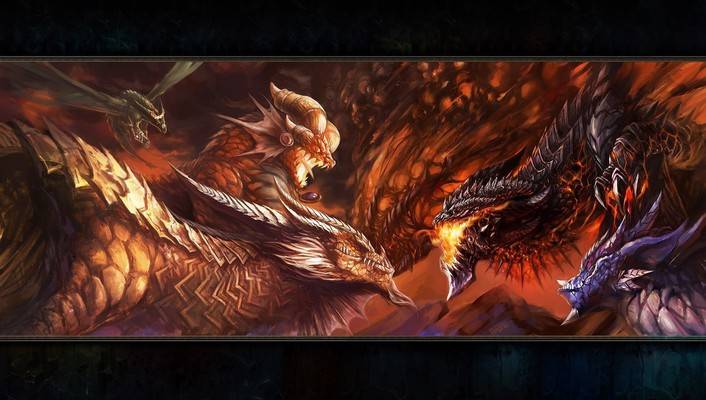 World of warcraft artwork deathwing dragons fantasy art wallpaper