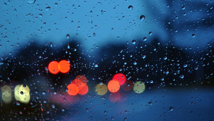 Bokeh glass rain water drops wallpaper
