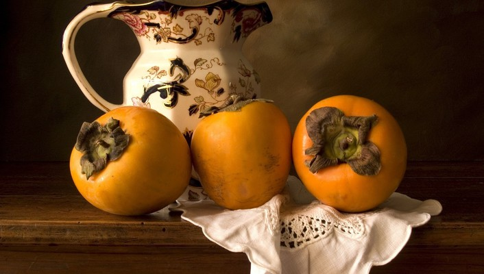 Jug persimmons fruits still life wallpaper