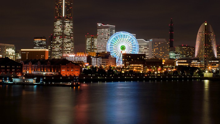 Japan yokohama cityscapes lights nightlife wallpaper