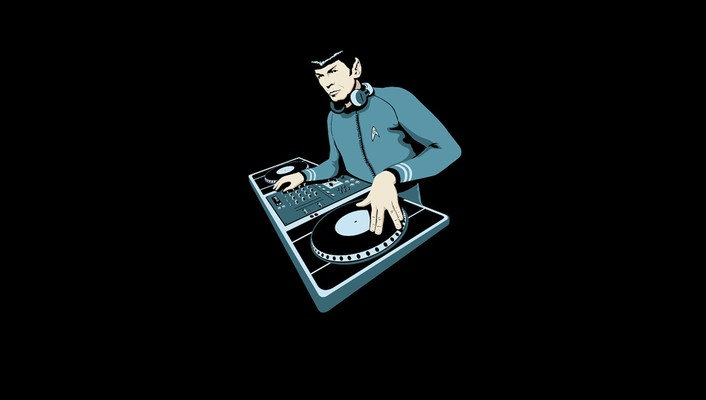 Dj spock star trek artwork black background wallpaper