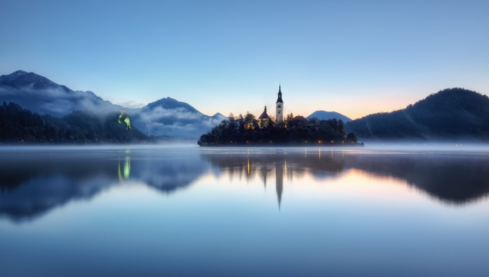 Slovenia churches fog forests hills wallpaper