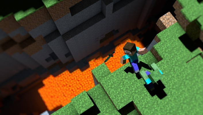 Minecraft cliffs lava video games zombies wallpaper
