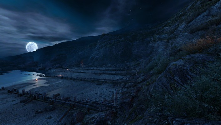 Dear esther moon landscapes night video games wallpaper