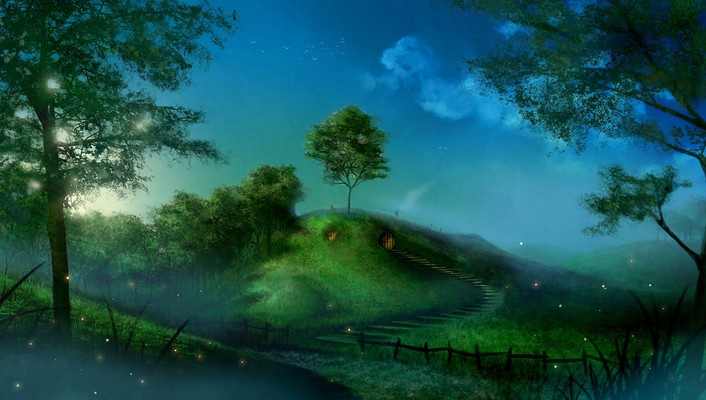 Fireflies artwork fictional landscapes shire bag end wallpaper