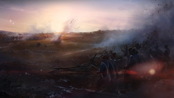 Assassins creed 3 battlefield civil war artwork wallpaper