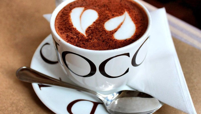 Chocolate coffee cups hearts love wallpaper