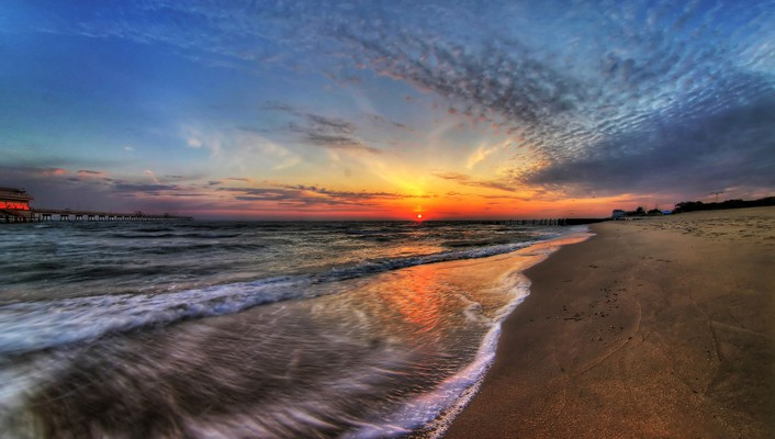 Beaches landscapes sunset waves wallpaper
