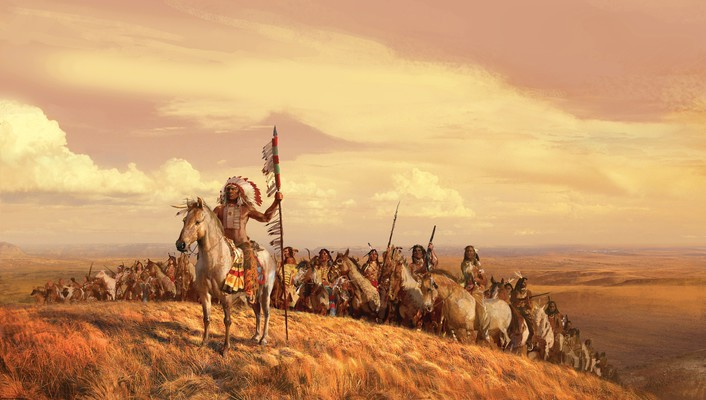 Indians artwork horses landscapes leader wallpaper