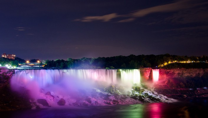 Light landscapes night niagara falls waterfalls colors wallpaper