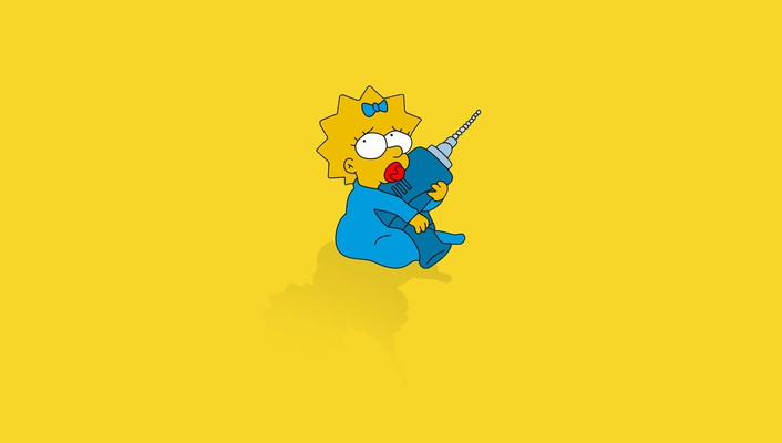 Minimalistic babies the simpsons maggie simpson yellow background wallpaper