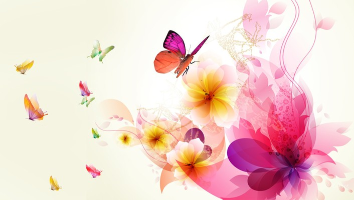 Exotic abstract floral wallpaper
