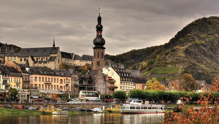 Wonderful german town on a river wallpaper