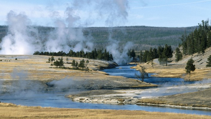 National park wyoming yellowstone geysers wallpaper