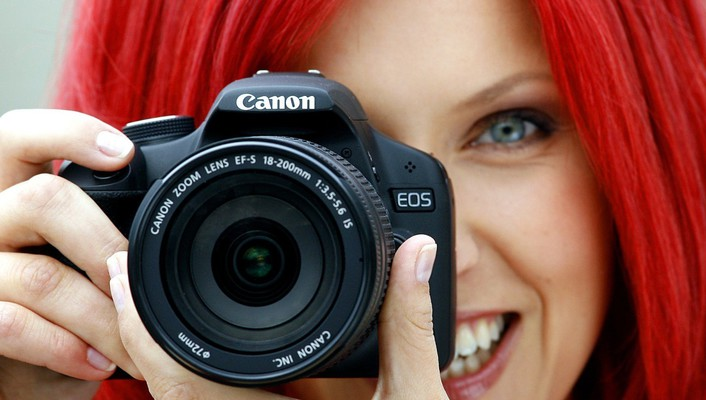 Blue eyes redheads lens cameras canon wallpaper