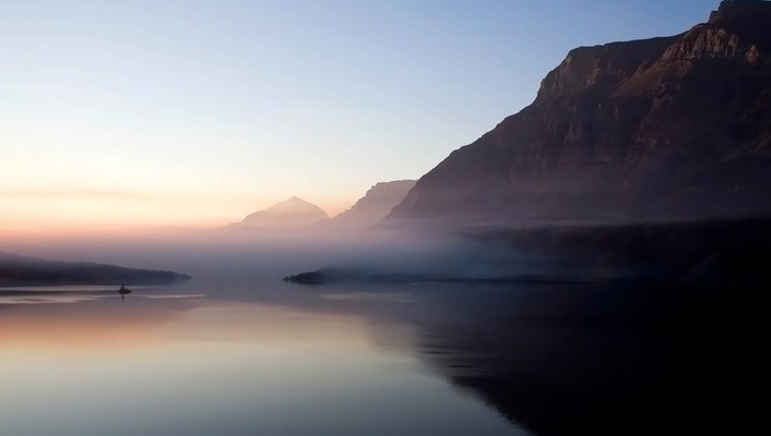 Fog mountains nature water wallpaper