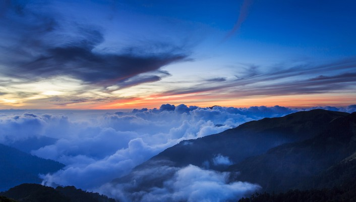 Sunrise mountains clouds landscapes wallpaper