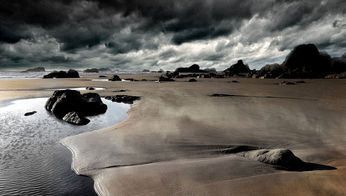 Hdr photography beaches clouds landscapes rocks wallpaper