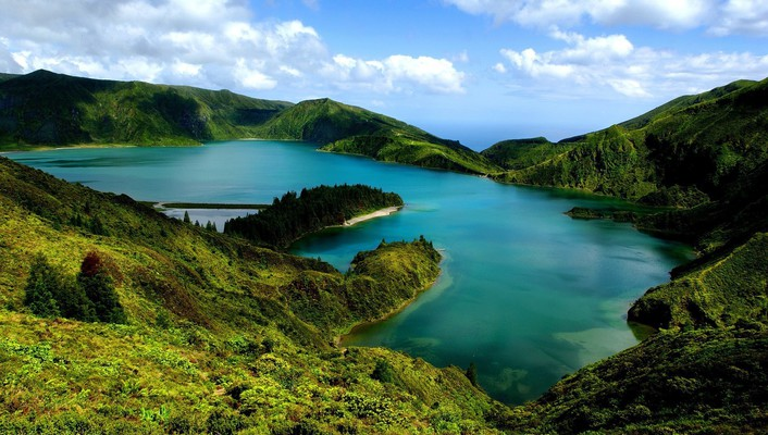 Azores hills islands lakes landscapes wallpaper