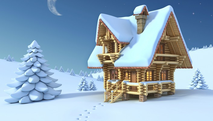 Winter house wallpaper