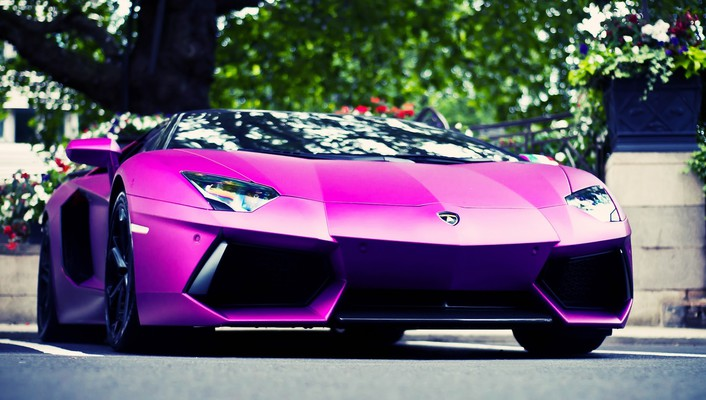 Pink cars lamborghini aventador low-angle shot wallpaper