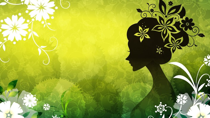 Digital art floral silhouettes wallpaper