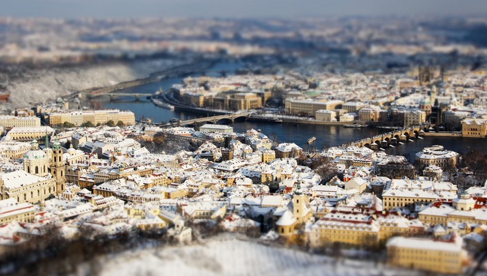 Prague cityscapes tiltshift wallpaper