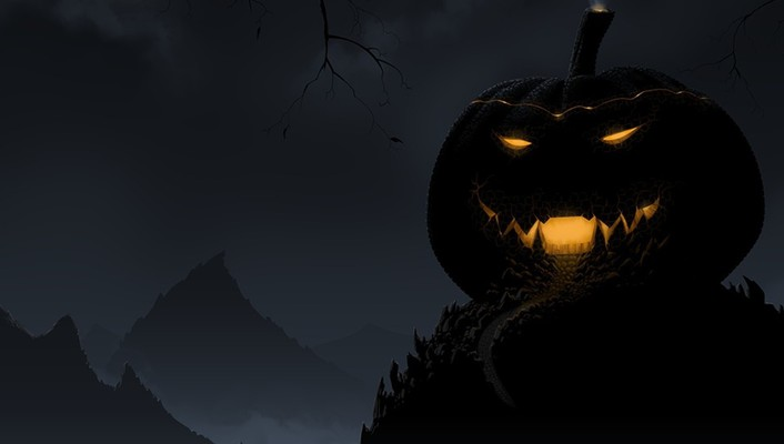 Black halloween pumpkin wallpaper