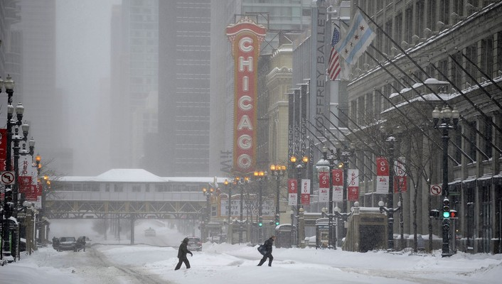 Chicago in a snow blizzard wallpaper