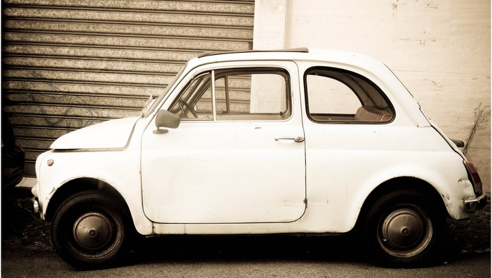 Fiat cars vintage white wallpaper