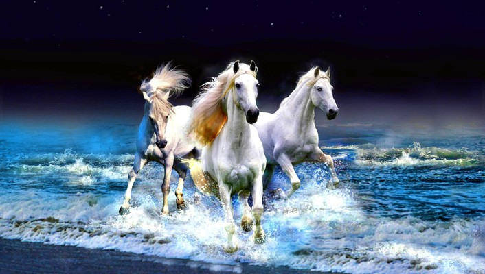 Horses galloping in the ocean wallpaper