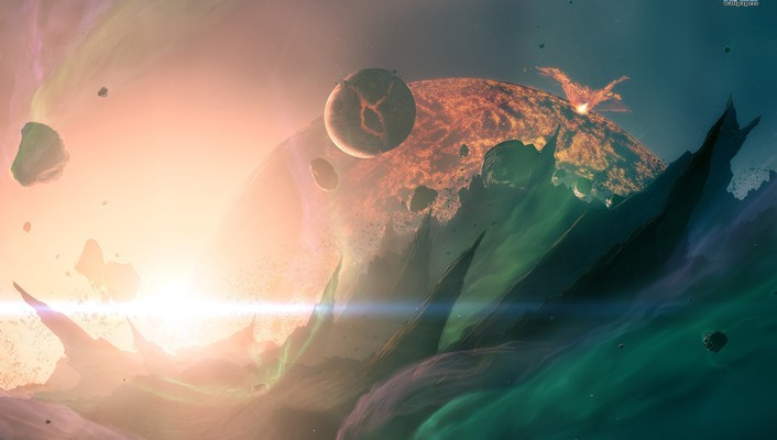 Planets digital art explosion wallpaper