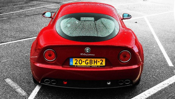 Red alfa romeo 8c competizione italian cars wallpaper