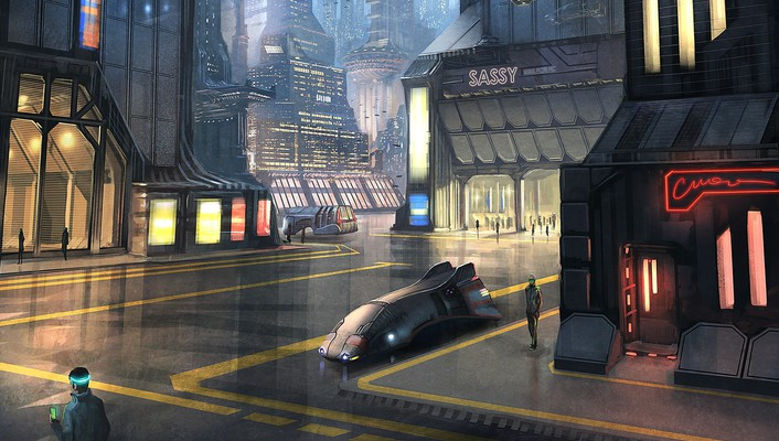 Cities street futuristic city christophorus pi hatchenson wallpaper