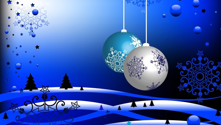 White christmas in blue colors wallpaper