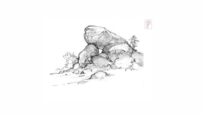 Rocks artwork sketch wallpaper