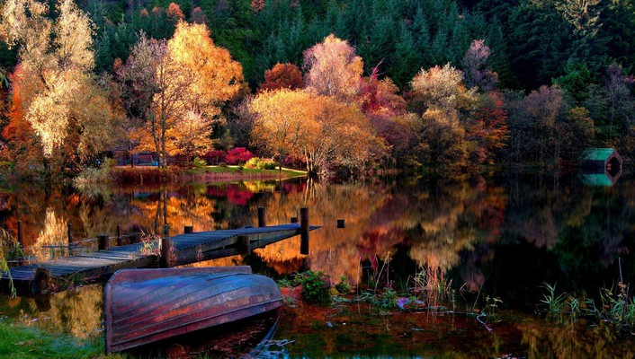 Water trees autumn (season) forest ponds boats wallpaper