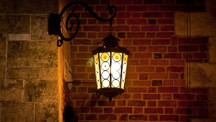 A lamp in the night wallpaper