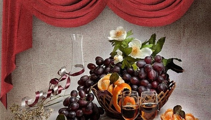 Fruit and wine wallpaper