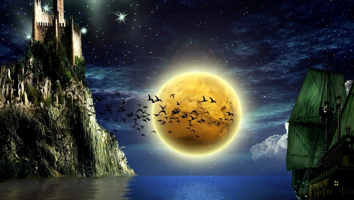 Moonlight shadow wallpaper